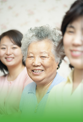 a smiling elderly woman